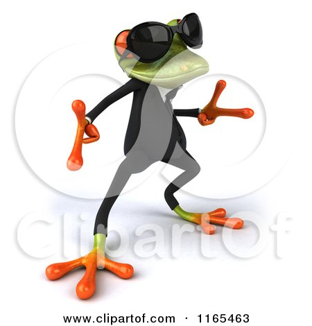 Clipart of a 3d Green Business Frog Wearing Sunglasses and Dancing 3 - Royalty Free CGI Illustration by Julos