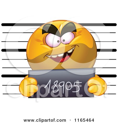 Cartoon of a Mugshot Emoticon Smiley - Royalty Free Vector Clipart by yayayoyo