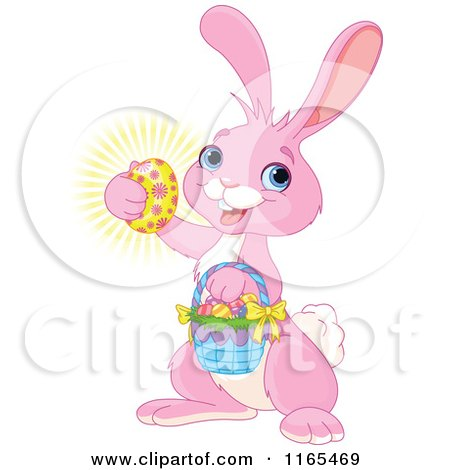 Cartoon of a Cute Pink Easter Bunny Carrying a Basket and Holding a Glowing Egg - Royalty Free Vector Clipart by Pushkin