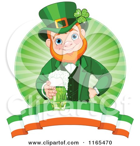 Cartoon of a St Patricks Day Leprechaun Holding a Green Beer over a Circle of Rays and an Irish Banner - Royalty Free Vector Clipart by Pushkin