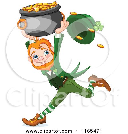 Cartoon of a St Patricks Day Leprechaun Running with a Pot of Gold - Royalty Free Vector Clipart by Pushkin