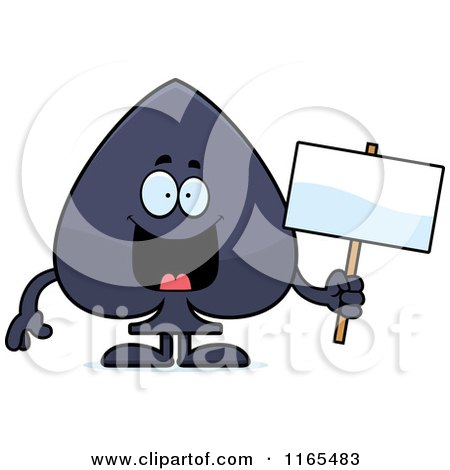 Cartoon of a Spade Card Suit Mascot Holding a Sign - Royalty Free Vector Clipart by Cory Thoman