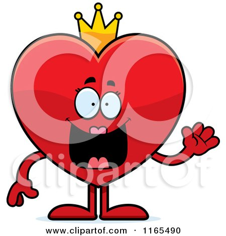 Cartoon of a Waving Queen Red Heart Card Suit Mascot - Royalty Free Vector Clipart by Cory Thoman
