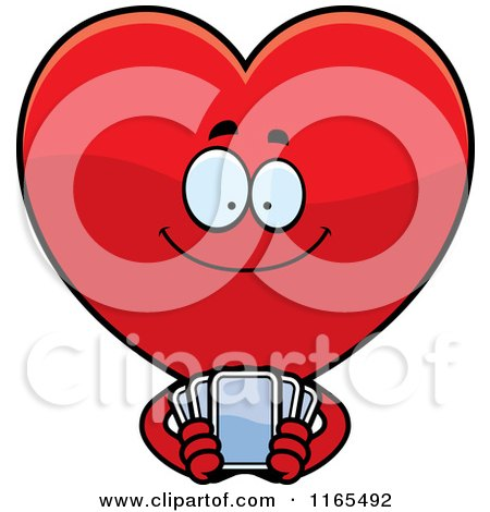 Cartoon of a Red Heart Card Suit Mascot Holding Playing Cards - Royalty Free Vector Clipart by Cory Thoman