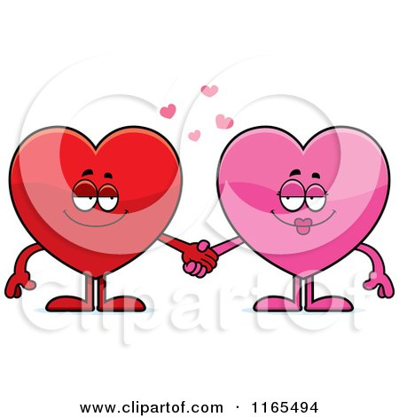 Cartoon of Pink and Red Heart Card Suit Mascots Holding Hands - Royalty Free Vector Clipart by Cory Thoman