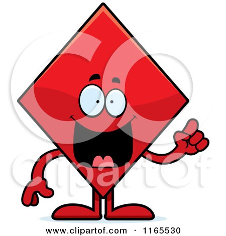 Cartoon of a Diamond Card Suit Mascot with an Idea - Royalty Free Vector Clipart by Cory Thoman