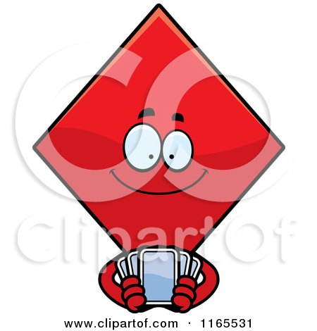Cartoon of a Diamond Card Suit Mascot Holding Playing Cards - Royalty Free Vector Clipart by Cory Thoman
