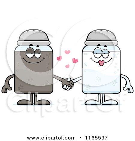 Cartoon of Salt and Pepper Shaker Mascots Holding Hands - Royalty ...