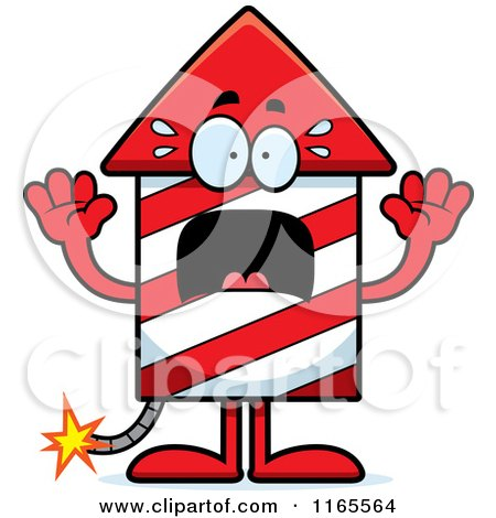 Cartoon of a Scared Rocket Firework Mascot - Royalty Free Vector Clipart by Cory Thoman