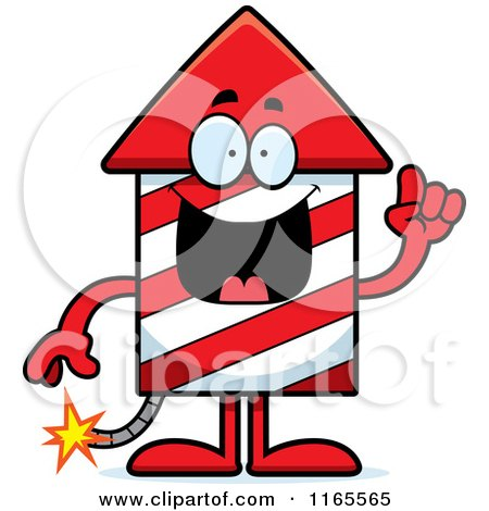 Cartoon of a Rocket Firework Mascot with an Idea - Royalty Free Vector Clipart by Cory Thoman