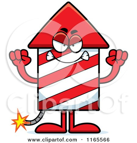 Cartoon of a Mad Rocket Firework Mascot - Royalty Free Vector Clipart by Cory Thoman