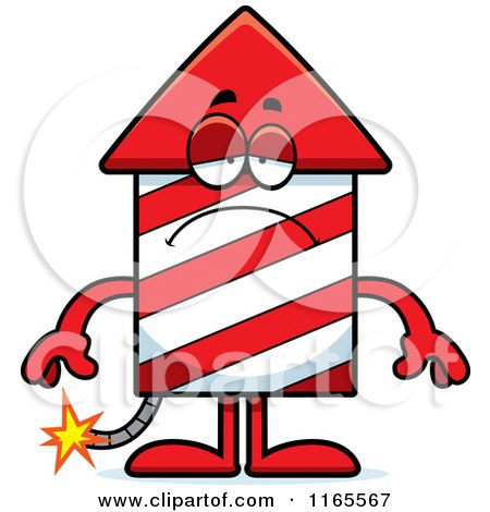 Cartoon of a Depressed Rocket Firework Mascot - Royalty Free Vector Clipart by Cory Thoman