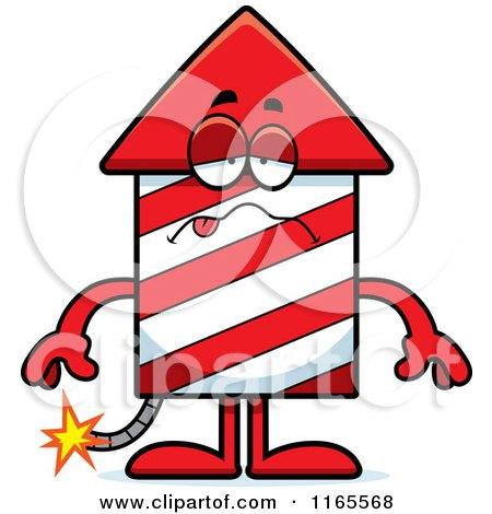 Cartoon of a Sick Rocket Firework Mascot - Royalty Free Vector Clipart by Cory Thoman