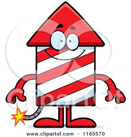 Cartoon of a Happy Rocket Firework Mascot - Royalty Free Vector Clipart by Cory Thoman
