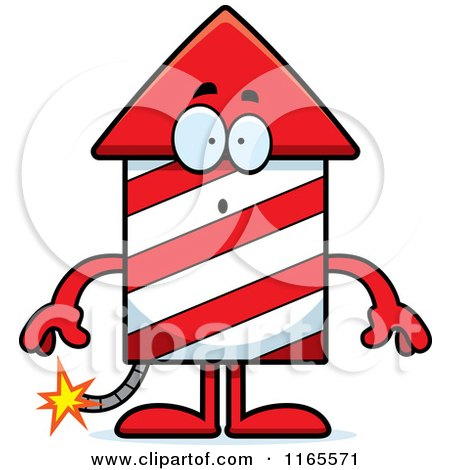 Cartoon of a Surprised Rocket Firework Mascot - Royalty Free Vector Clipart by Cory Thoman