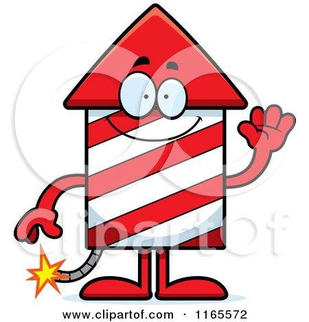Cartoon of a Waving Rocket Firework Mascot - Royalty Free Vector Clipart by Cory Thoman