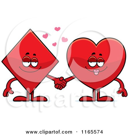 Cartoon of Diamond and Heart Card Suit Mascots Holding Hands - Royalty Free Vector Clipart by Cory Thoman