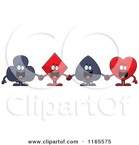 Cartoon of Club Diamond Spade and Heart Card Suit Mascots Holding Cards - Royalty Free Vector Clipart by Cory Thoman