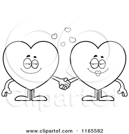 Cartoon Clipart Of Heart Card Suit Mascots Holding Hands - Vector Outlined Coloring Page by Cory Thoman