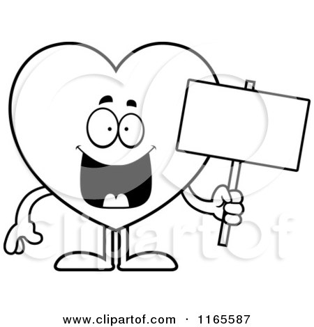 Cartoon Clipart Of A Happy Heart Card Suit Mascot Holding A Sign