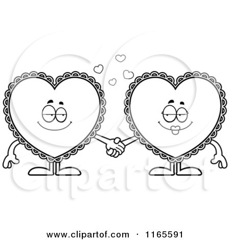Cartoon Clipart Of Doily Hearts Holding Hands - Vector Outlined Coloring Page by Cory Thoman