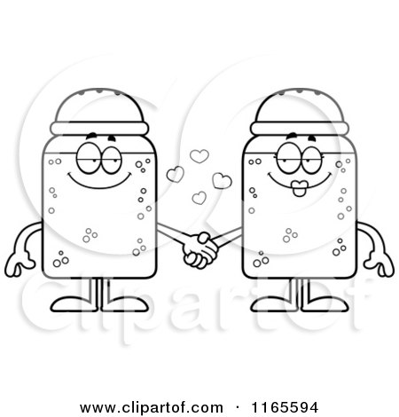 cartoon clipart of salt and pepper shaker mascots holding hands vector outlined coloring page by cory thoman