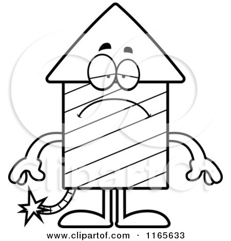 Cartoon Clipart Of A Depressed Rocket Firework Mascot - Vector Outlined Coloring Page by Cory Thoman
