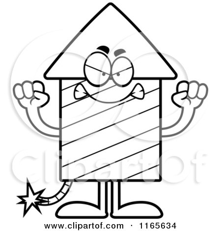 Cartoon Clipart Of A Mad Rocket Firework Mascot - Vector Outlined Coloring Page by Cory Thoman