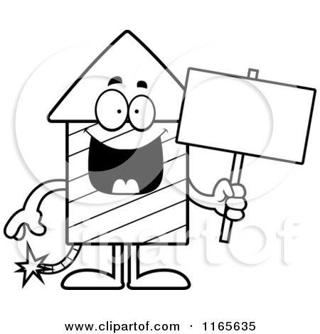 Cartoon Clipart Of A Rocket Firework Mascot Holding a Sign| Vector Outlined Coloring Page by Cory Thoman