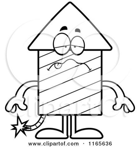 Cartoon Clipart Of A Sick Rocket Firework Mascot - Vector Outlined Coloring Page by Cory Thoman
