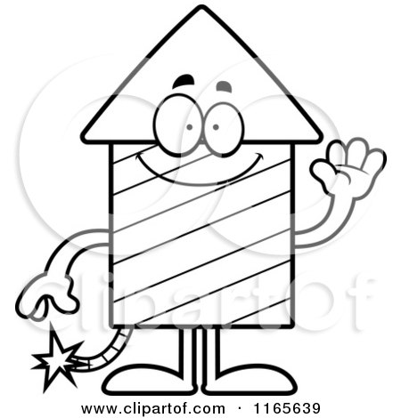 Cartoon Clipart Of A Waving Rocket Firework Mascot - Vector Outlined Coloring Page by Cory Thoman