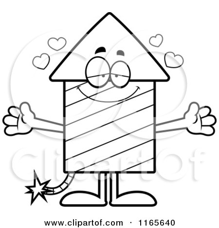 Cartoon Clipart Of A Loving Rocket Firework Mascot - Vector Outlined Coloring Page by Cory Thoman