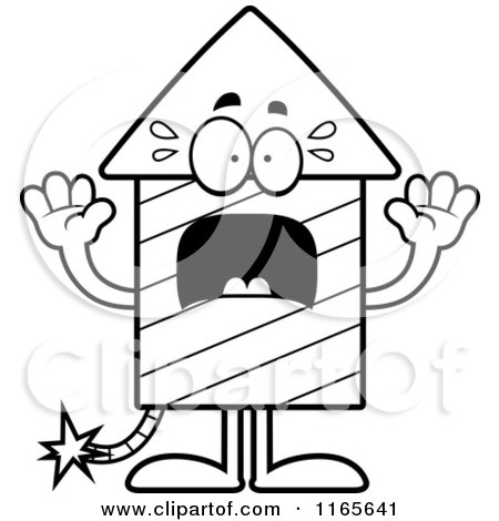 Cartoon Clipart Of A Scared Rocket Firework Mascot - Vector Outlined Coloring Page by Cory Thoman