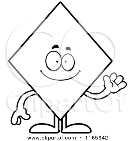 Cartoon Clipart Of A Waving Diamond Card Suit Mascot - Vector Outlined Coloring Page by Cory Thoman