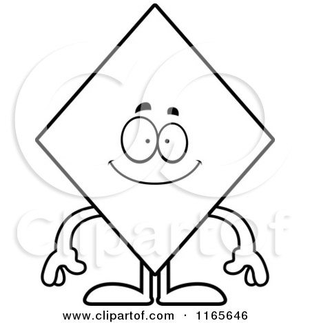 Cartoon Clipart Of A Happy Diamond Card Suit Mascot - Vector Outlined Coloring Page by Cory Thoman