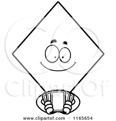 Cartoon Clipart Of A Diamond Card Suit Mascot Holding Playing Cards - Vector Outlined Coloring Page by Cory Thoman