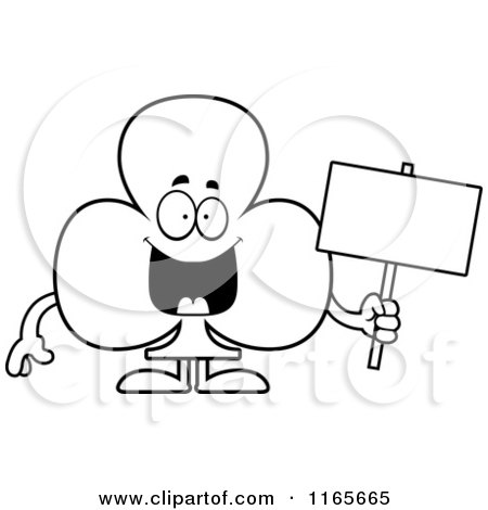 Cartoon Clipart Of A Club Card Suit Mascot Holding a Sign - Vector Outlined Coloring Page by Cory Thoman