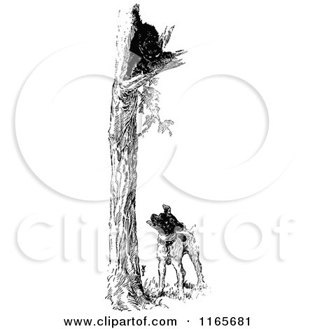 Clipart of a Retro Vintage Black and White Dog with a Cat up a Tree - Royalty Free Vector Illustration by Prawny Vintage