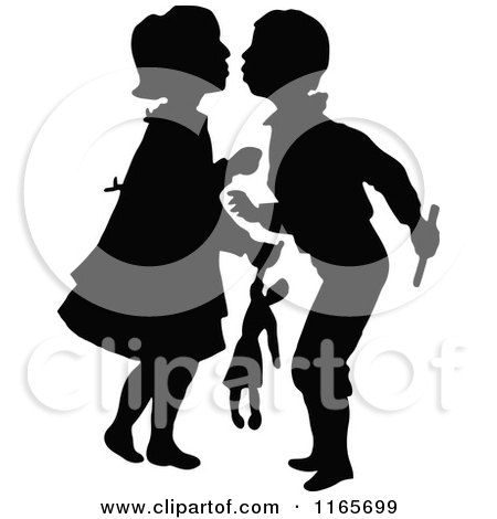 Clipart of Silhouetted Children About to Kiss - Royalty Free Vector Illustration by Prawny Vintage