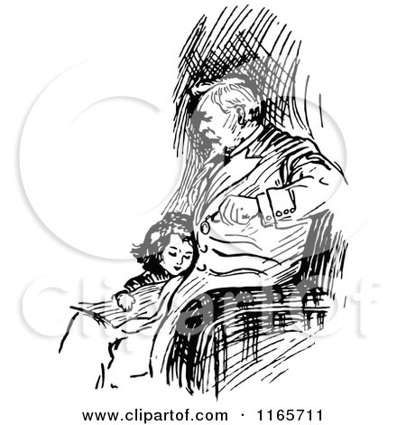 Clipart of a Retro Vintage Black and White Girl Cuddling with Her Father - Royalty Free Vector Illustration by Prawny Vintage