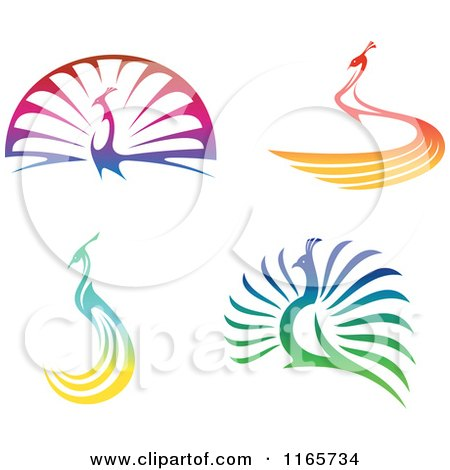 Clipart of Colorful Peacocks - Royalty Free Vector Illustration by Vector Tradition SM