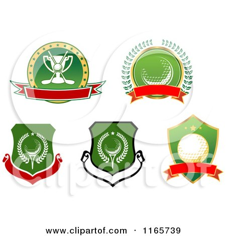 clipart of a golf ball green trophy and crossed clubs with wings and red stars royalty free. Black Bedroom Furniture Sets. Home Design Ideas