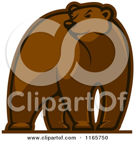 Clipart of a Brown Bear Glancing - Royalty Free Vector Illustration by Vector Tradition SM