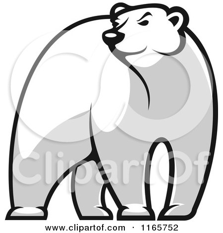 Clipart of a Black and White Bear Glancing - Royalty Free Vector Illustration by Vector Tradition SM