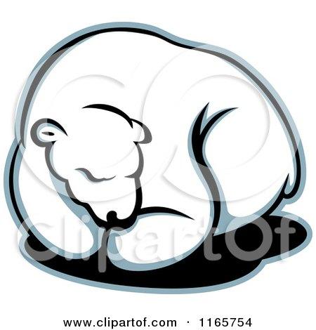 Clipart of a Hibernating Polar Bear - Royalty Free Vector Illustration by Vector Tradition SM