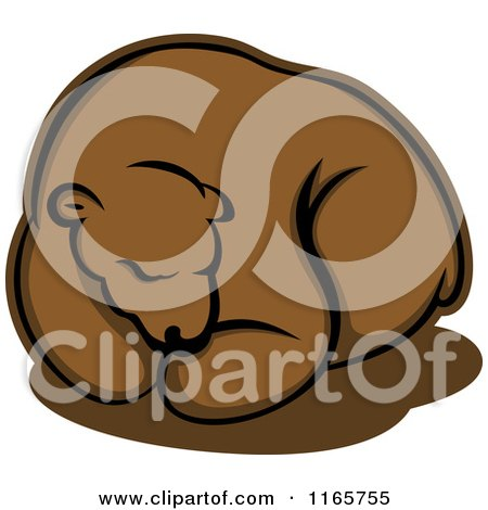 Clipart of a Hibernating Brown Bear - Royalty Free Vector Illustration by Vector Tradition SM