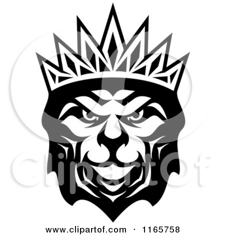 Clipart of a Black and White Heraldic Lion with a Crown 3 - Royalty Free Vector Illustration by Vector Tradition SM