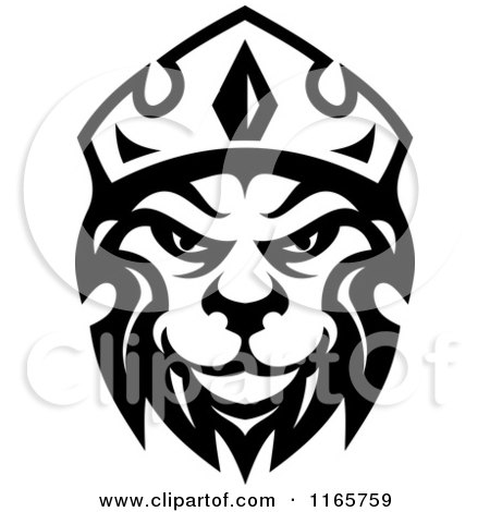 Clipart of a Black and White Heraldic Lion with a Crown 4 - Royalty Free Vector Illustration by Vector Tradition SM