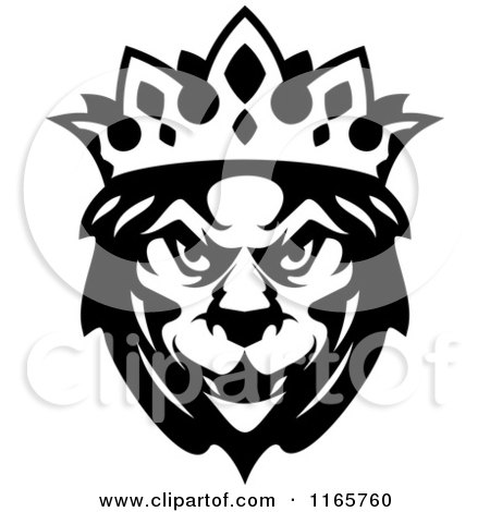 Clipart of a Black and White Heraldic Lion with a Crown - Royalty Free Vector Illustration by Vector Tradition SM