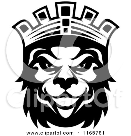 Clipart of a Black and White Heraldic Lion with a Crown 2 - Royalty Free Vector Illustration by Vector Tradition SM